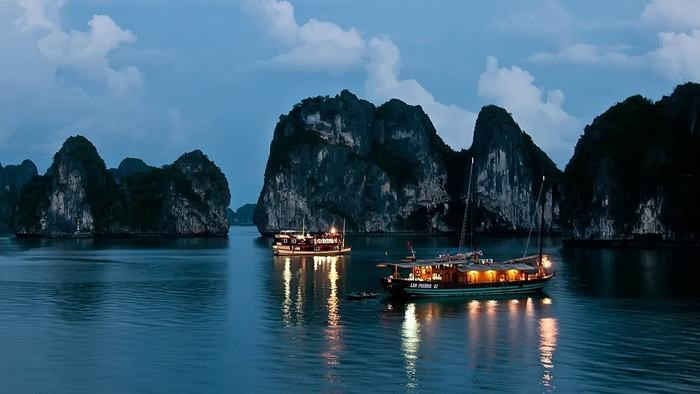 Halong Bay by night