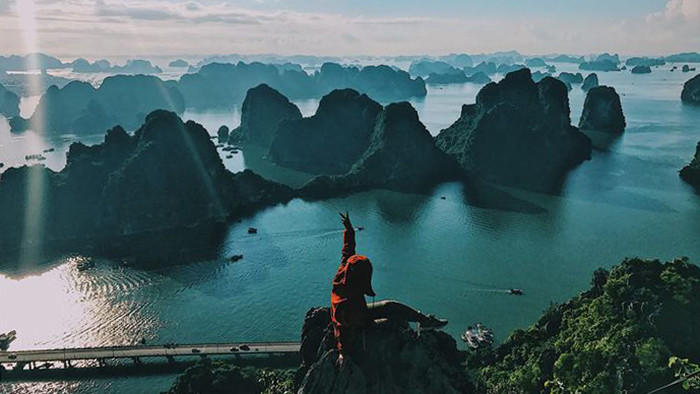 The stunning view of Halong Bay from Bai Tho mountain