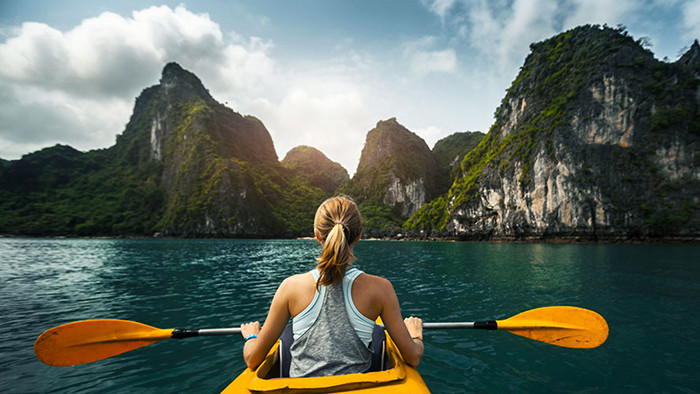 Admire Halong nature by kayak