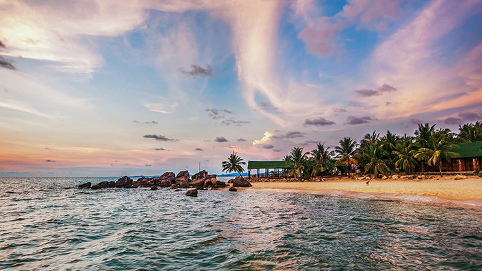 The beautiful sunset on Phu Quoc beach