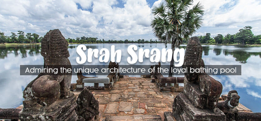 Admiring the unique architecture of the royal bathing pool - Srah Srang