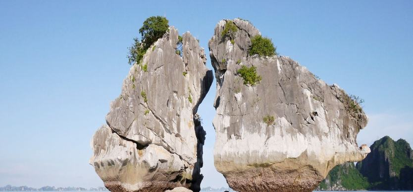 Amusing rock shapes in Halong Bay