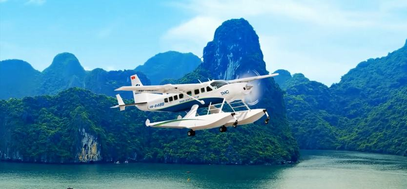 Halong Bay from aerial view – Halong Bay seaplane tour