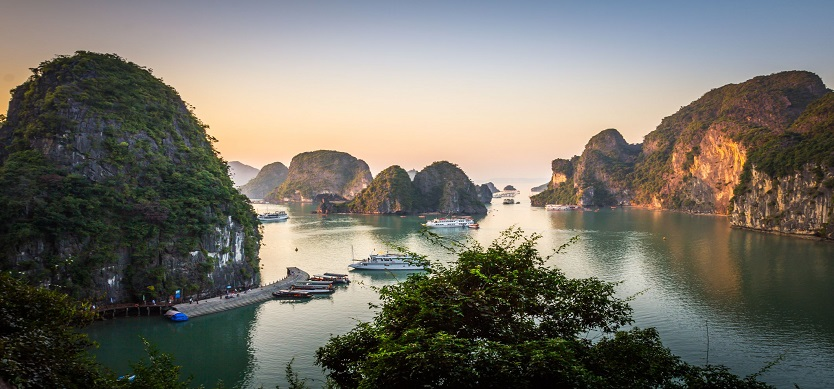 The splendor of Halong Bay from a drone cam
