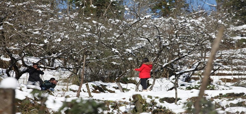 Tourists flock to see rare sight of snow in Sa Pa