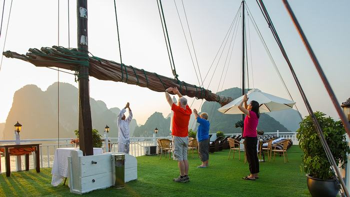 Tai Chi on Halong Bay cruise