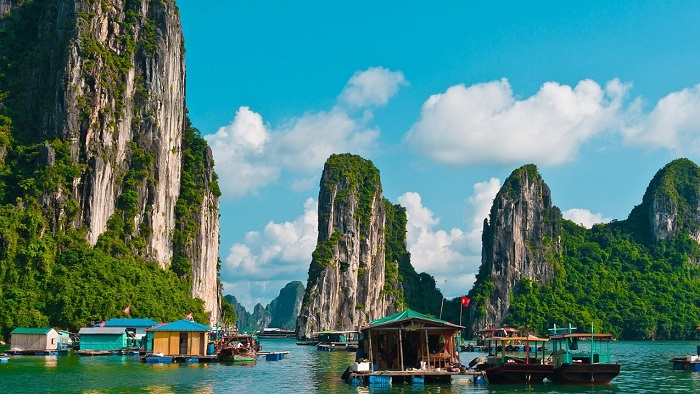 Floating village in Halong