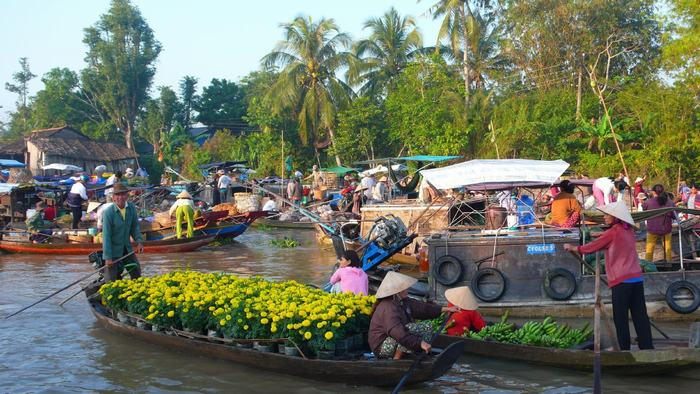 Floating market in Mekong River