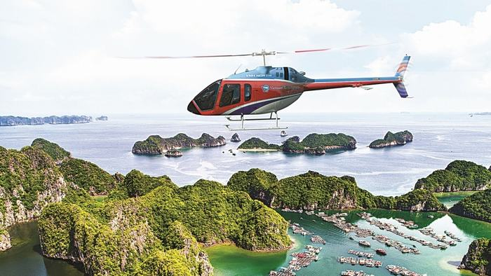 Get to Halong Bay by helicopter