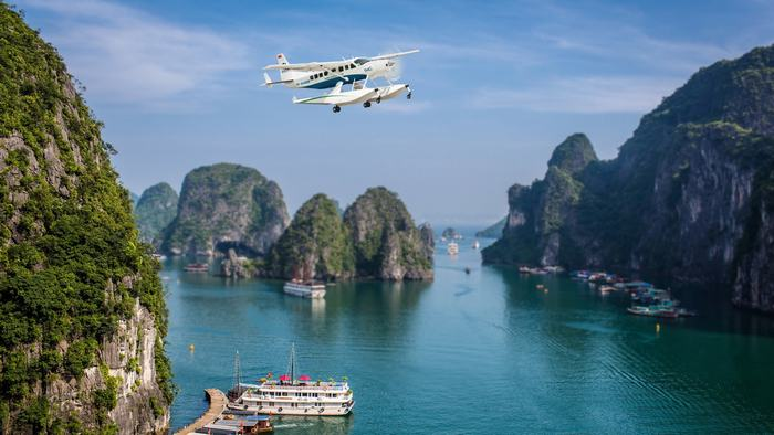 Admire Halong's landscape by seaplane