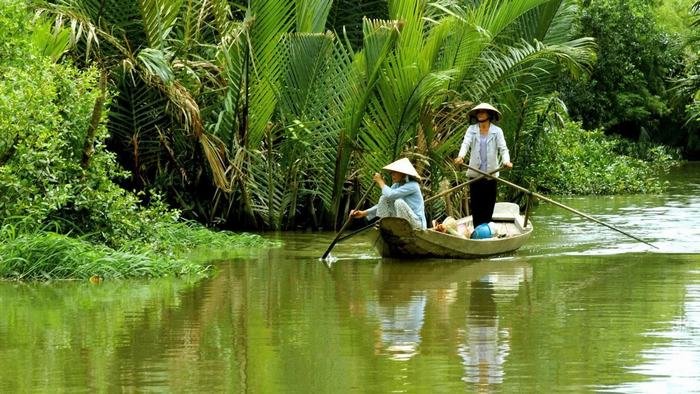 The peaceful scenery of Mekong Delta