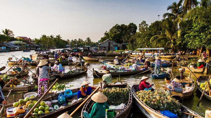 Floating Market in Mekong Delta