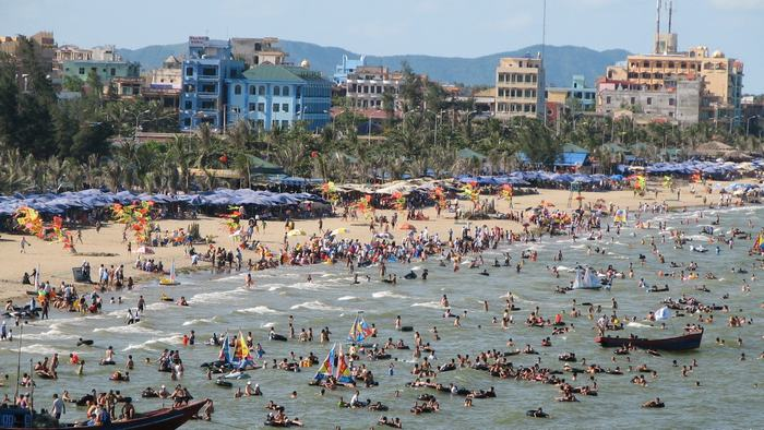 Crowded beach in summer