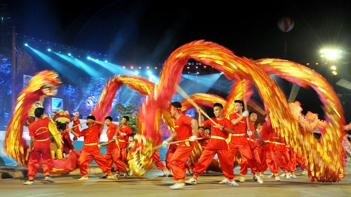 The dragon dance in the event