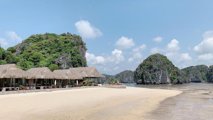 The white sand of Van Boi beach
