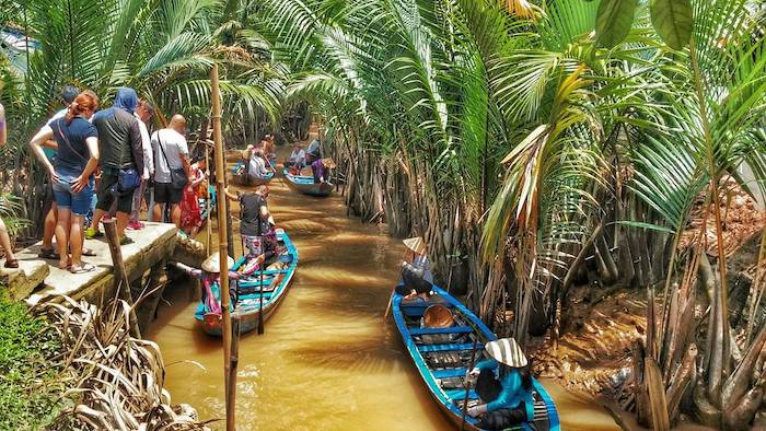 Tourism in Mekong Delta involves in activities on rivers and canals
