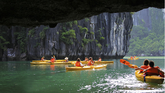 Kayaking through the caves is very interesting
