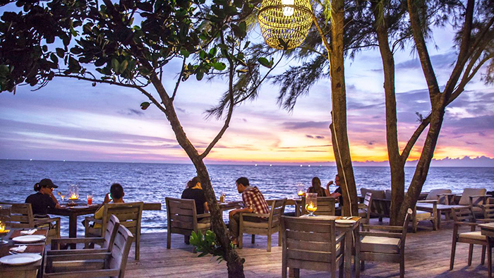 Beautiful sunset at the resort