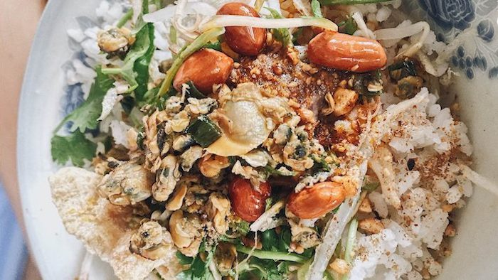 Baby clam rice in Hue