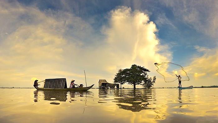 A floating village in Mekong Delta