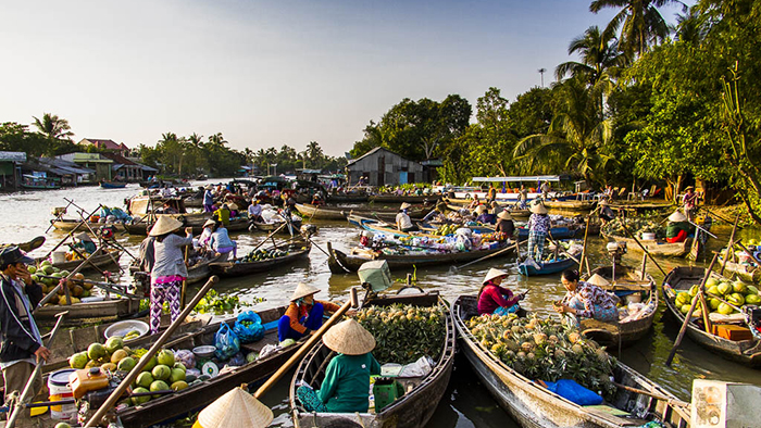 Cai Rang floating market n the Mekong Delta