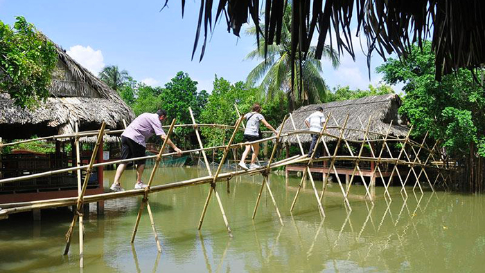 Bamboo monkey bridge - a symbol of the Southwest
