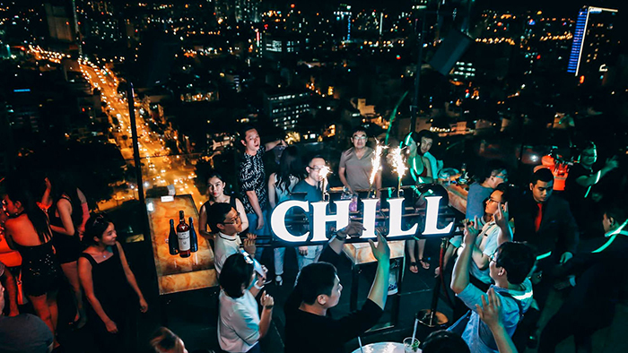 The panorama of Saigon at night from Chill Skybar