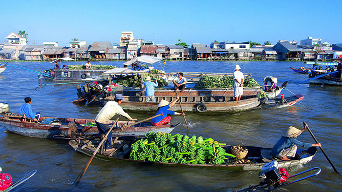 The floating market on Mekong River