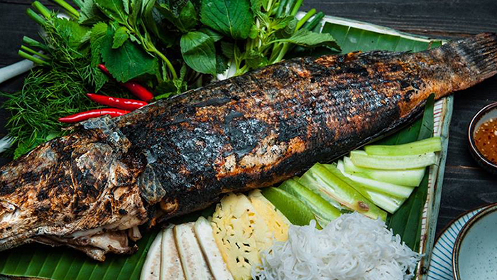 Grilled snakehead fish in the South