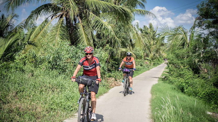 Biking in the Mekong River