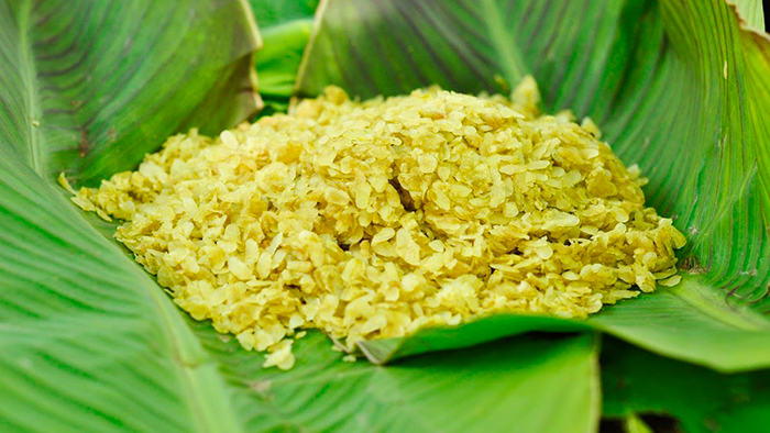 Green rice flakes of Vong Village