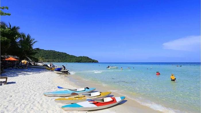 Phu Quoc island with blue beaches and white sand