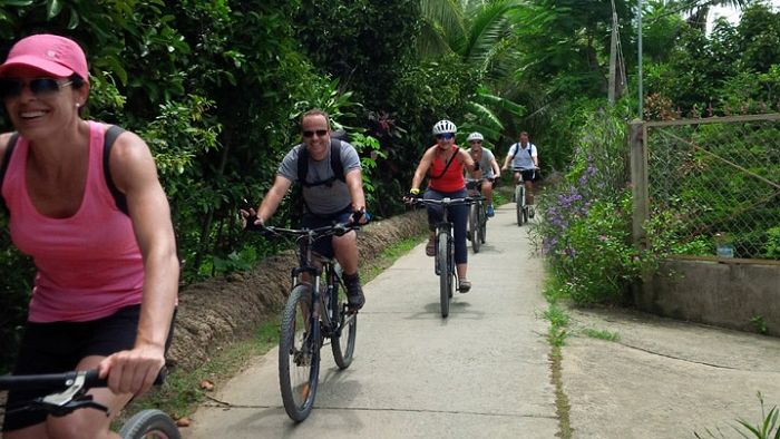 Cycling around Mekong Delta village